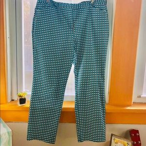 Worthington Teal Mini-Geometric Crop pant.
